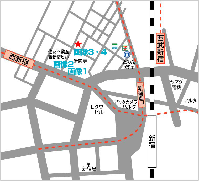 JR山手線 新宿駅 にある レンタルスタジオ 『新宿だんすた3』 『新宿だんすた4』 の 地図